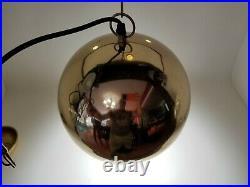 Vintage Brass Globe Round Sphere Swag Hanging Light Lamp Atomic Mid Century Mod