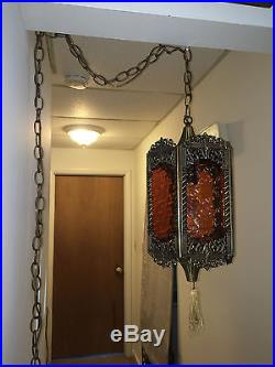 Vintage Brass Gothic 5 Sided Hanging Swag Lamp With Textured Amber Glass Panels