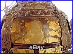 Vintage Brass Hanging Lamp with Glass Shade