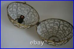 Vintage Brass Japanese Karakusa Globe Lantern Light Lamp Orb Hanging Swag