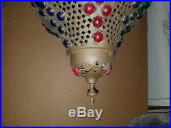 Vintage Brass Morrocan 1960's Hanging Swag Lamp Multi-Color Lucite Mid Century