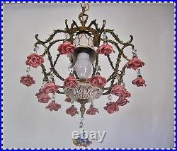 Vintage Brass Porcelain Pink Roses Birdcage Chandelier Hanging Swag Lamp Light