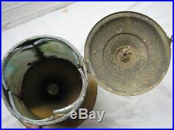 Vintage Brass Slag Rainbow Glass Chandelier Porch Lamp Light Hanging Ornate