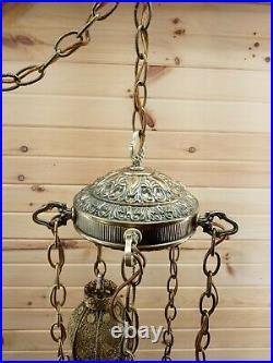Vintage Brass Tulip Swag Light 5 Tier Hanging Lamp