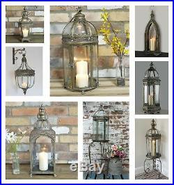 Vintage Bronz Brown Lamp Moroccan Garden Lantern Candle Holder Metal Party Decor