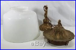 Vintage Bronzed Cast Iron Hanging Lamp With Milk Glass Shade And Levolier Switch
