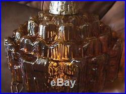 Vintage Brutalist Amber Glass Hanging Swag Globe Lamp Mid Century Kryptonian