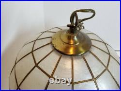Vintage CAPIZ SHELL Globe Hanging Swag Light Pendant Ball Lamp MCM