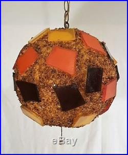 Vintage CHUNKY LUCITE ROCK CANDY Mid Century Hanging SWAG LAMP Light Spaghetti