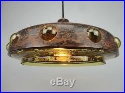 Vintage COPPER pendant Amber Glass -1960/70´s Often attributed to Nanny Still