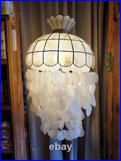 Vintage Capiz Shell Swag Chandelier Hanging Light Lamp Retro MCM Jellyfish Boho