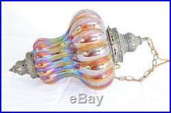 Vintage Carnival Glass Hanging Lamp