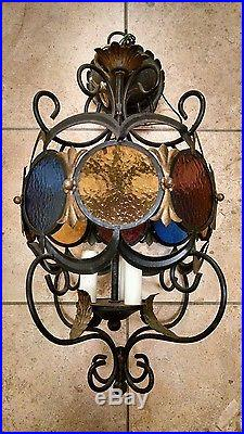Vintage Cast Iron Hanging Light Lamp Chandelier, Round Stained Glass, Leaves