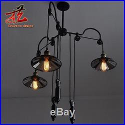 Vintage Ceiling Lamp Loft Pulley Reflector Hanging Light Pendant Chandelier