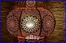 Vintage Ceiling Lamp Pendant Hanging Moroccan Metal Lamp (Gold & Red) 12 x 7.5