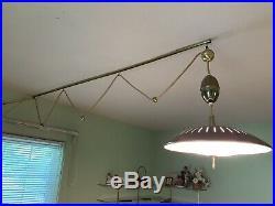 Vintage Ceiling Light Mid-Century Atomic Glass Brass Lamp Hanging 17 1/4 Retro