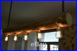 Vintage Ceiling Light Rustic Lamp Round Wood Log Hanging Chandelier HANDMADE