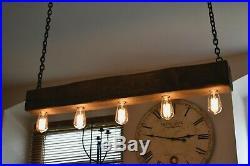 Vintage Ceiling Light Rustic Lamp Wood Hanging Chandelier HANDMADE