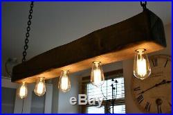 Vintage Ceiling Light Rustic Lamp Wood Hanging Chandelier HANDMADE Coffee Bar