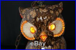 Vintage Ceramic Owl Drip Glaze Pottery Hanging Swag Light Lamp 15 1960's-70's