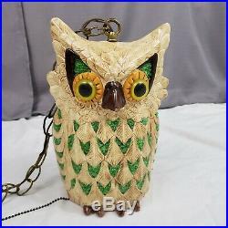 Vintage Ceramic Owl Hanging Lamp