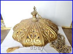 Vintage Ceramic Pendant Hanging Light Fixture, Boho Swag Lamp Gold 23x 17