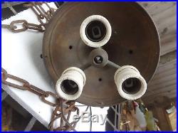 Vintage Ceramic / Steel Lamp Gothic Chandelier Medieval Hanging Ceiling Light