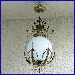 Vintage Chandelier Solid Brass Pendant Swag Single Light Fixture Hanging Lamp