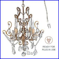Vintage Chic Crystal Chandelier Swag Pendant Hanging Lighting Room Fixture Lamp