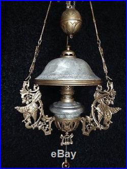 Vintage Church Sanctuary, Counter Weight, Hanging Lamp Chandelier- Oil Lamp