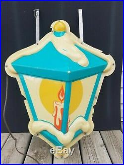 Vintage City Street Light Blow Mold Hanging Christmas Lamp Double Sided / Rare