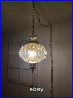 Vintage Clear Round Glass Swag Lamp Pendant MCM Hanging Light Plug In