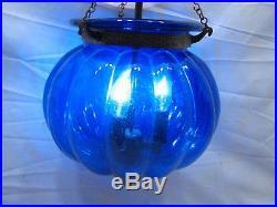 Vintage Cobalt Blue Ornate Art Glass Shade Hanging Hall Lamp Chandelier Light