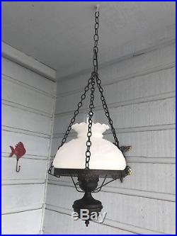Vintage Colonial Hanging Lamp With American Eagle Milk Glass Motif, 7 Stars