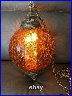 Vintage Crackle Amber Glass and Brass Hanging Swag Lamp With Diffuser Rare