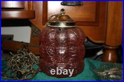 Vintage Crackle Glass Hanging Chandelier Lamp Light Pink Peach Color