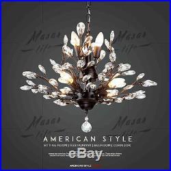 Vintage Crystal Chandeliers Pendant Lighting Metal Hanging lamp Ceiling Fixtures