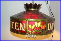 Vintage Dairy Queen DQ Tiffany Style Hanging Lamp Light Fixture Circa 1970's