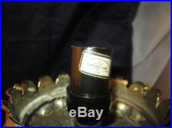 Vintage Double Cherub Putti Lamp Cut Glass Globe Hanging Crystals Prism