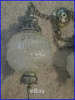Vintage Double Hanging Cut Glass Swag Lamp MCM Hollywood Regency Fredrick Ramond