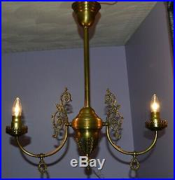 Vintage Electrified Victorian Brass Gas Lamp Hanging Chandelier