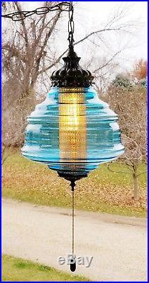 Vintage Falkenstein Mid Century UFO Blue Glass Hanging SWAG Lamp 3 Way Light