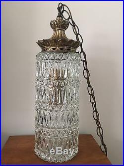 Vintage Falkenstein Swag Hanging Lamp Light Hollywood Mid Century Glass 4086-4
