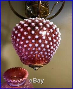 Vintage Fenton Glass Hanging Lamp Cranberry Opalescent Hobnail All Original