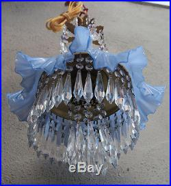 Vintage Fenton Purple Lily hanging Glass beaded brass tole SWAG Lamp chandelier