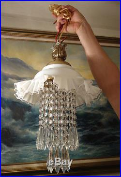 Vintage Fenton silver crest Jelly Fish Glass hanging brass SWAG Lamp chandelier