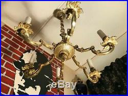 Vintage French Empire Chandelier French Brass Hanging Chain Lamp