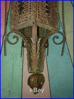 Vintage French Ornate Arts Crafts Gothic Wrought Iron Hanging Lantern Light Lamp