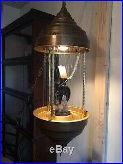 Vintage GRIST MILL Hanging 1970s Rain Oil Lamp chandelier 36 Tested Working MCM