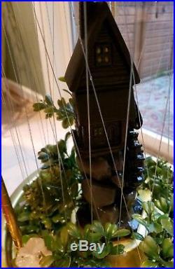 Vintage GRIST MILL Hanging Swag Rain Oil Lamp chandelier 36 Tested Working MCM